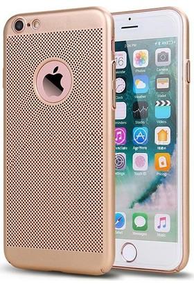 Case 4U Apple iPhone 6 / 6S Kılıf Delikli Sert Arka Kapak Altın