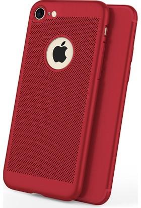 Case 4U Apple iPhone 6 Plus / 6S Plus Kılıf Delikli Sert Arka Kapak Kırmızı