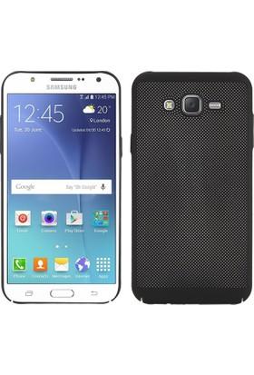 Case 4U Samsung Galaxy J5 Kılıf Delikli Sert Arka Kapak Siyah