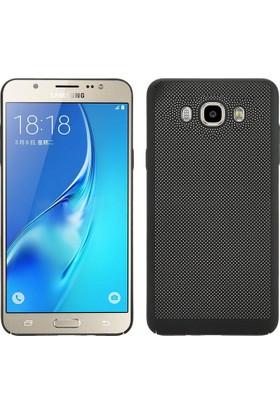 Case 4U Samsung Galaxy J3 2016 Kılıf Delikli Sert Arka Kapak Siyah
