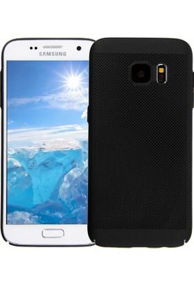 Case 4U Samsung Galaxy S7 Edge Kılıf Delikli Sert Arka Kapak Siyah