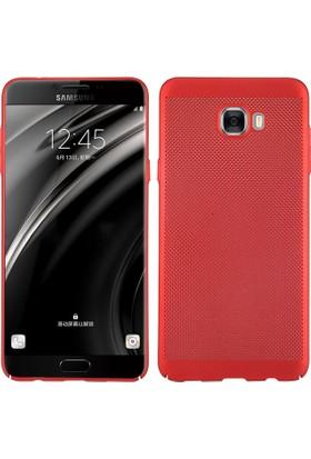 Case 4U Samsung Galaxy C7 PRO Kılıf Delikli Sert Arka Kapak Kırmızı