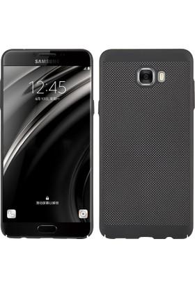 Case 4U Samsung Galaxy C7 PRO Kılıf Delikli Sert Arka Kapak Siyah