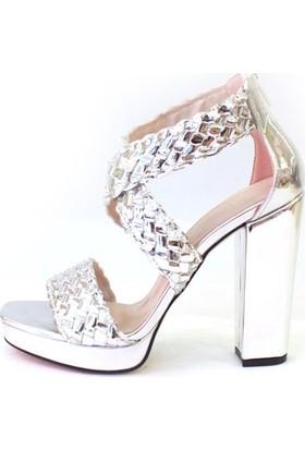 Shop and Shoes Bayan Sandalet Gümüş Ayna 173-0507-1