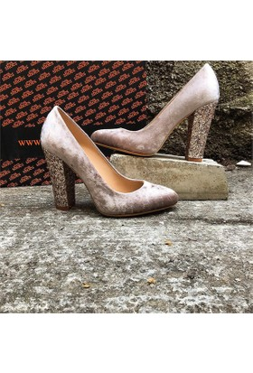 Shop and Shoes Bayan Ayakkabı Vizon Kadife 155-511