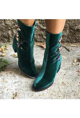 Shop and Shoes Bayan Bot Yeşil Kadife 104-230238