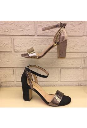 Shop and Shoes Bayan Sandalet Bej Kadife 122-1185