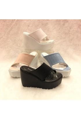 Shop and Shoes Bayan Terlik Mavi Rugan 184-102