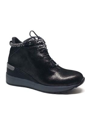Shop and Shoes Bayan Bot Siyah Simli 150-1051