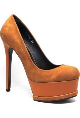 Shop and Shoes 005-215-7 Taba Süet Kadın Ayakkabı