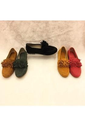 Shop and Shoes Bayan Babet Yeşil Süet 173-1901