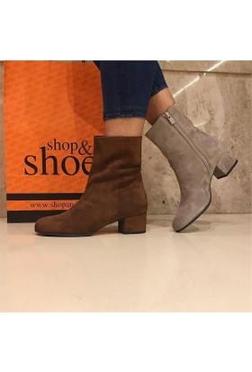 Shop and Shoes Bayan Bot Taba Süet 104-20102