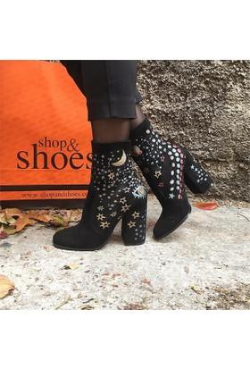 Shop and Shoes Bayan Bot Siyah Süet 104-233D02