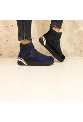 Shop and Shoes Bayan Bot Lacivert Süet 122-8014