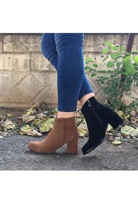 Shop and Shoes Bayan Bot Bordo Süet 156-415