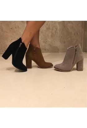 Shop and Shoes Bayan Bot Gri Süet 164-560