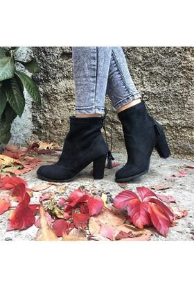 Shop and Shoes Bayan Bot Siyah Süet 172-4646