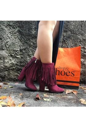 Shop and Shoes Bayan Bot Bordo Süet 173-1000