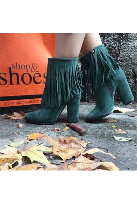 Shop and Shoes Bayan Bot Yeşil Süet 173-1000