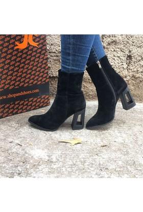Shop and Shoes Bayan Bot Siyah Süet 173-1002