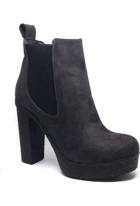 Shop and Shoes Bayan Bot Gri Süet 173-20803