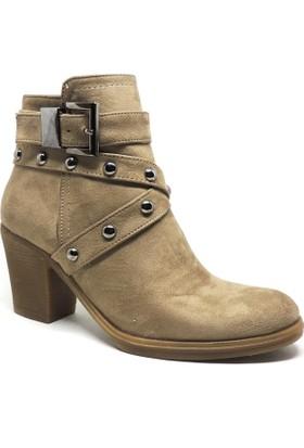 Shop and Shoes Bayan Bot Bej Süet 173-51102