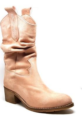 Shop and Shoes 036-111 Pudra Süet Kadın Çizmesi