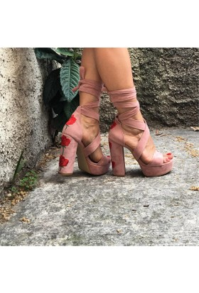 Shop and Shoes Bayan Sandalet Pudra Süet 173-07502
