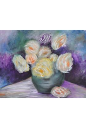 Defne Ahşap Çiçekler - Yağlı Boya