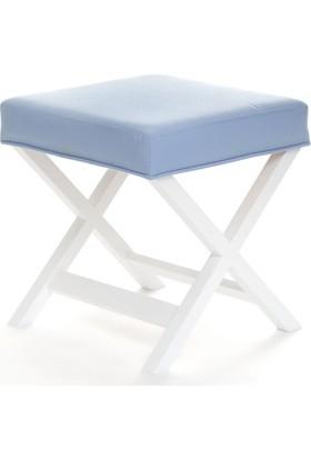 Evka Ahşap Bench Puf Light - Mavi
