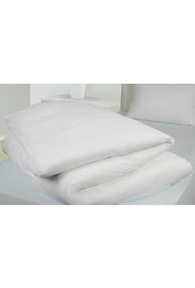 Akomp Premium Pamuk Anti Alerjik-Anti Bakteriyel Yorgan Koruyucu Kılıf 135x200 Beyaz