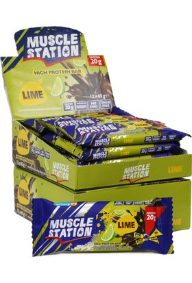 Musclestation 12'li Kutu 65gr Protein Bar (Whey & Casain) Lime