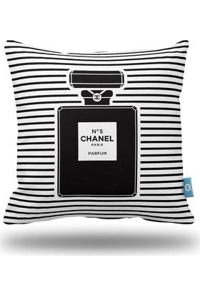 Bc Home Chanel Siyah Beyaz Şeritler Dekoratif Yastık / Kırlent Kılıfı