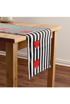 Bc Home Kırmızı Kalpler Siyah Çizgili Runner