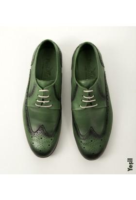 Deepsea Yeşil Lazer İşlemeli Gölge Desenli Casual Deri Ayakkabı 1701023