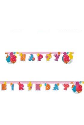 """Simli Balonlar """"Happy Birthday"""" Flama"""