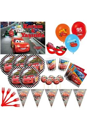 Disney 24 Kişilik Cars Arabalar Parti Seti + İsimli Afiş