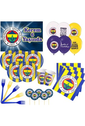 Fenerbahçe 8 Kişilik Parti Seti + İsimli Afiş