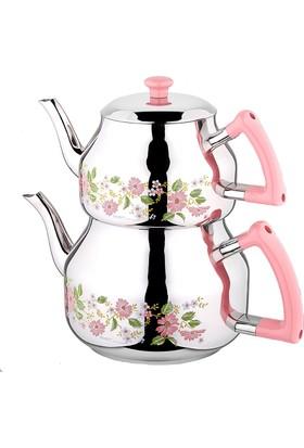Özkent Marmaris Pembe Mega Desenli Çaydanlık