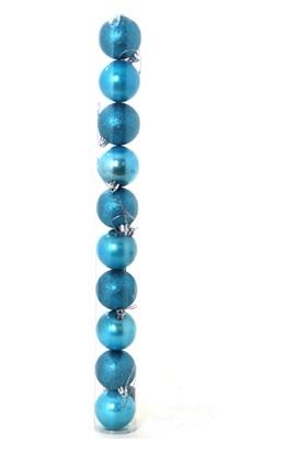 Yılbaşı Top Ağaç Süsü Mavi Simli 6cm 10'lu
