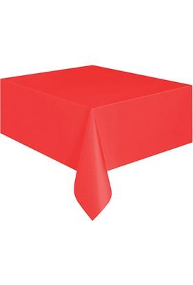 PartiBulutu Kırmızı Plastik Masa Örtüsü