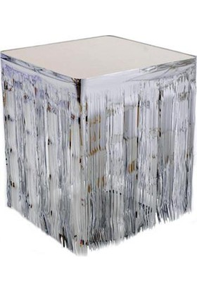 PartiBulutu Metalize Gümüş Masa Kenarı Eteği