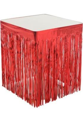 PartiBulutu Metalize Kırmızı Masa Kenarı Eteği