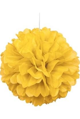Sarı Ponpon Dekor Süs 30cm 2'li