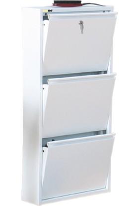 Kaser Metal Ayakkabılık Modelleri 3 Lü Kilitli Beyaz