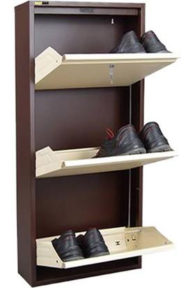 Kaser Metal Ayakkabılık Modelleri 3 Lü Kilitli Kahve Krem