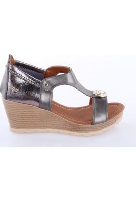 De Scario 991 Kadın Dolgu Taban Para Tokalı Sandalet