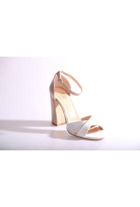 Dgn 2786 Kadın Bilekten Bağlı Kalın Topuk Abiye Ayakkabı