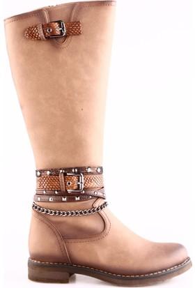 Dgn 2362 Kadın Aksesuarlı Knee High Çizme