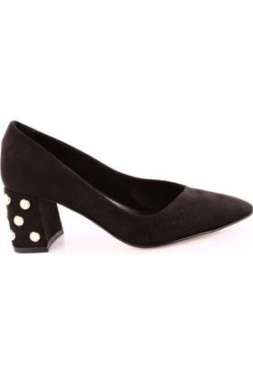 Dgn 3409 Kadın Sivri Burun Parmak Dekolte İnci Topuklu Ayakkabı